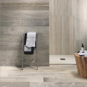 wood look porcelain tile in bathroom