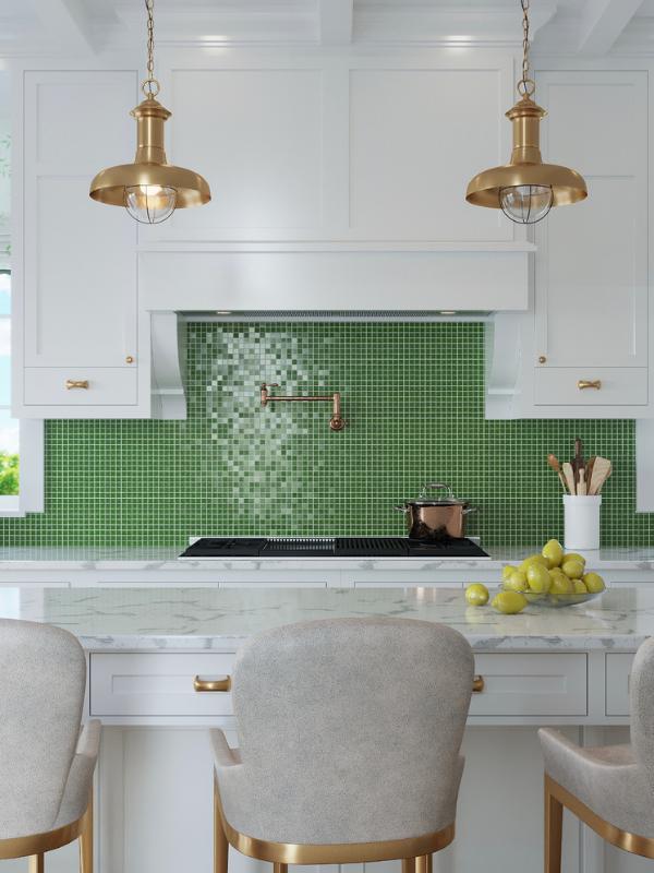 Alma Mosaic Tiles In Kitchen Backsplash Green Style