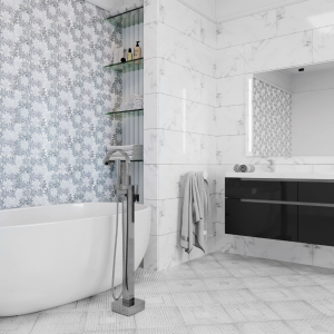 Mosaic waterjet tile accent wall bathroom
