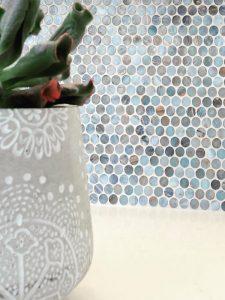 gray penny round tiles