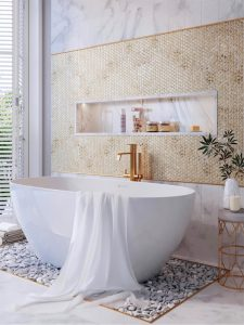 gorgeous bathroom with gold penny round tiles feature wall