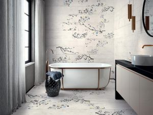 Asian Zen interiors - floral tile bathroom
