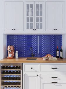 Dark blue brick mosaic tiles kitchen backsplash