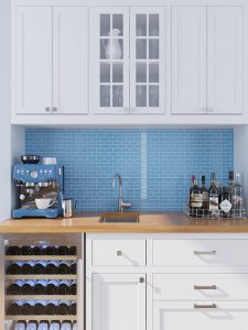 medium blue brick glass tiles
