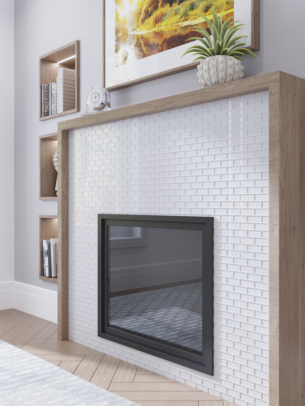 brick glass tiles white fireplace