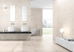 glam bathroom with large format tiles, white