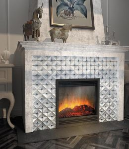 Blue Pillow Ceramic Tile on Fireplace