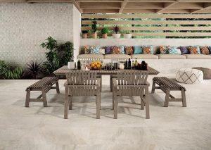 Beige large format outdoor tiles