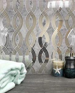 Bathroom backsplash with mirror mosaic tiles