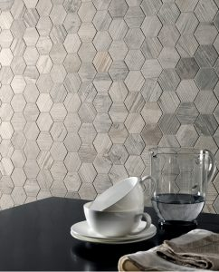Wooden gray marble mosaic tiles