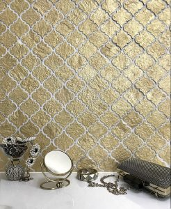 gold mosaic tiles backsplash
