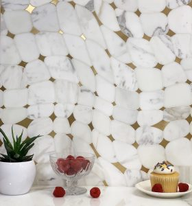 mosaic tiles brass backsplash