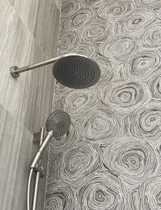 Noor Wood Look Porcelain Tile in Shower Wall