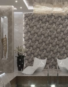 Noor Wood Look porcelain tile feature wall