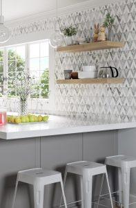 Diamond Natural Stone Tile Backsplash in Kitchen