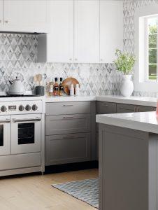 Natural Stone Diamond Tile Backsplash in Kitchen