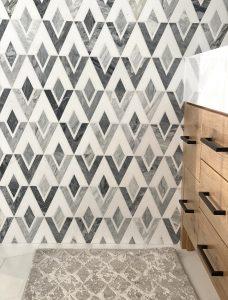 Natural Stone Diamond Tile Bathroom Wall