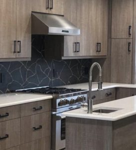 Kasai Notte Kinsu black porcelain kitchen tile