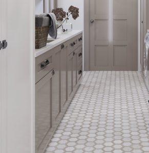Hexagon wood look porcelain kitchen floor tiles