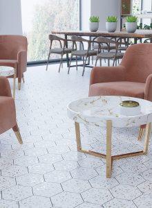 Terrazzo look porcelain kitchen floor tiles