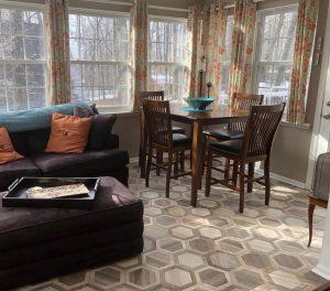 Multicolor wood look porcelain kitchen floor tiles