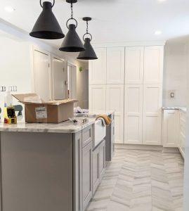 Modern chevron porcelain kitchen floor tiles