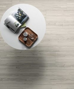 light wood look porcelain kitchen floor tiles with small round table