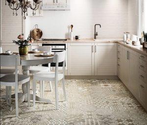 Pattern Hexagon Kitchen Floor Tile Neutral