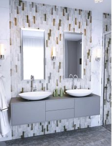 beige and white glass subway tiles