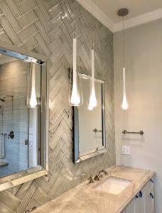 white glass subway tiles vanity wall bathroom
