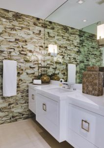 Glass subway tiles in bathroom