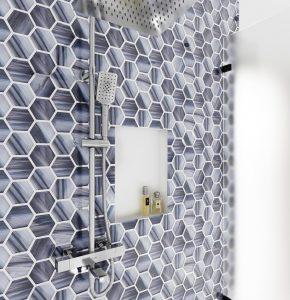 Gorgeous hexagon tile in shower