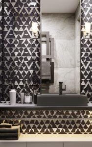 glamorous hexagon tile backsplash in bathroom