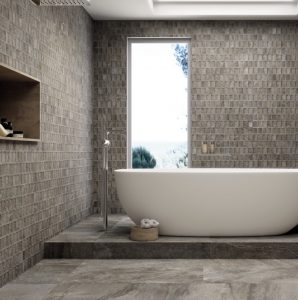 Neutral master bathroom tiles