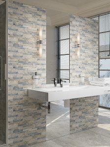Modern Coastal Bathroom With Tile Accent Wall