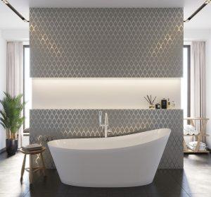 Stunning modern tile accent wall bathroom