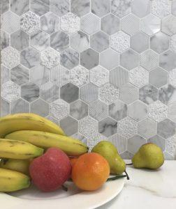 Carrara stone mosaic tiles