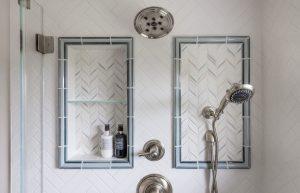 Plume White Ceramic Mosaic Tiles Shower Wall