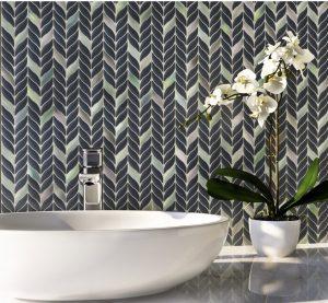 Colorful recycled glass mosaic tiles backsplash