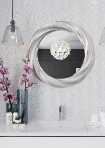 Groutless shell mosaic bathroom vanity