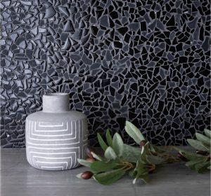 Black glass mosaic tiles backsplash