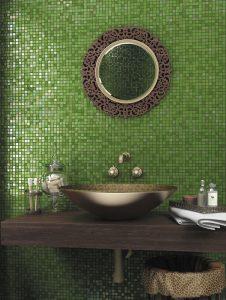 alma green glass mosaic tiles backsplash in bathroom