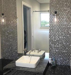 metal mosaic tiles backsplash