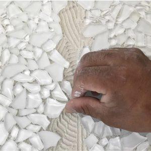 grouting mosaic tiles
