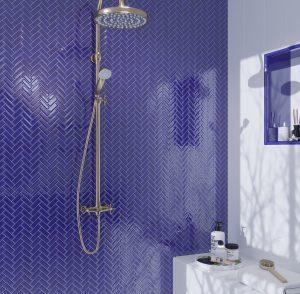 Blue Glass Mosaic Tiles on Shower Wall