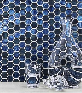 Blue hexagon glass mosaic tiles n backsplash