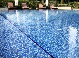 blue mosaic tiles pool