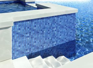 Blue glass mosaic tiles in pool