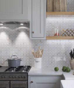 Natural stone mosaic tiles backsplash kitchen