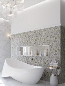 stone waterjet mosaic tiles feature wall bathroom